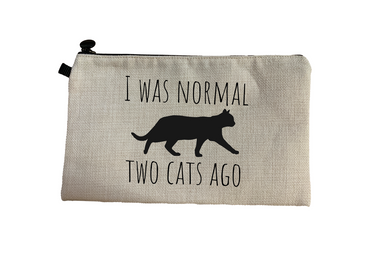 Morning Cuppa I Was Normal Two Cats Ago Make Up Bag