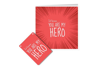Morning Cuppa Just Because You Are My Hero Plaque and Card Fusion