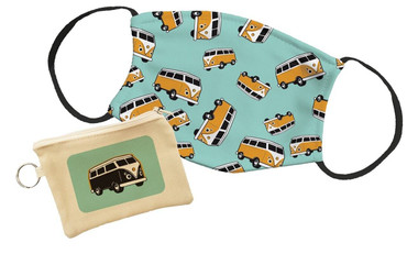Morning Cuppa Orange Camper Van Pouch With Face Mask