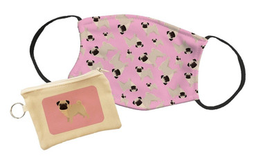Morning Cuppa Pug Face Mask With Face Mask Pouch