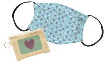 Morning Cuppa Purple Heart Pouch With Face Mask