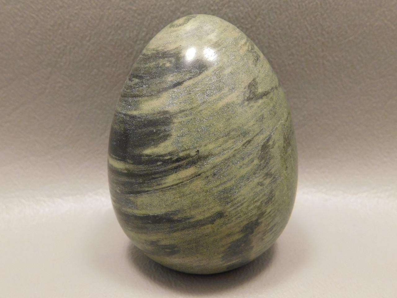 Silver Leaf Jasper Egg Green Gemstone 2.25 inch Rocks Minerals #O4