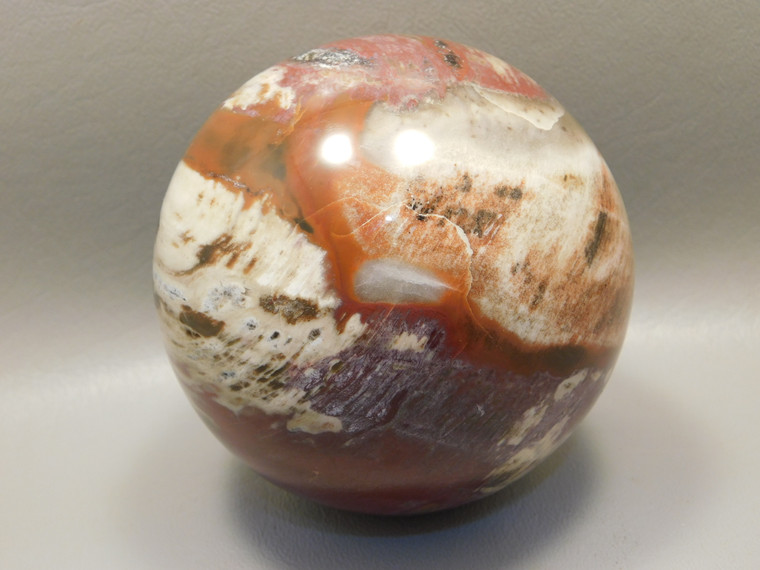 Petrified Wood Sphere Stone Large 3.5 inch Mineral Ball Madagascar #OM2