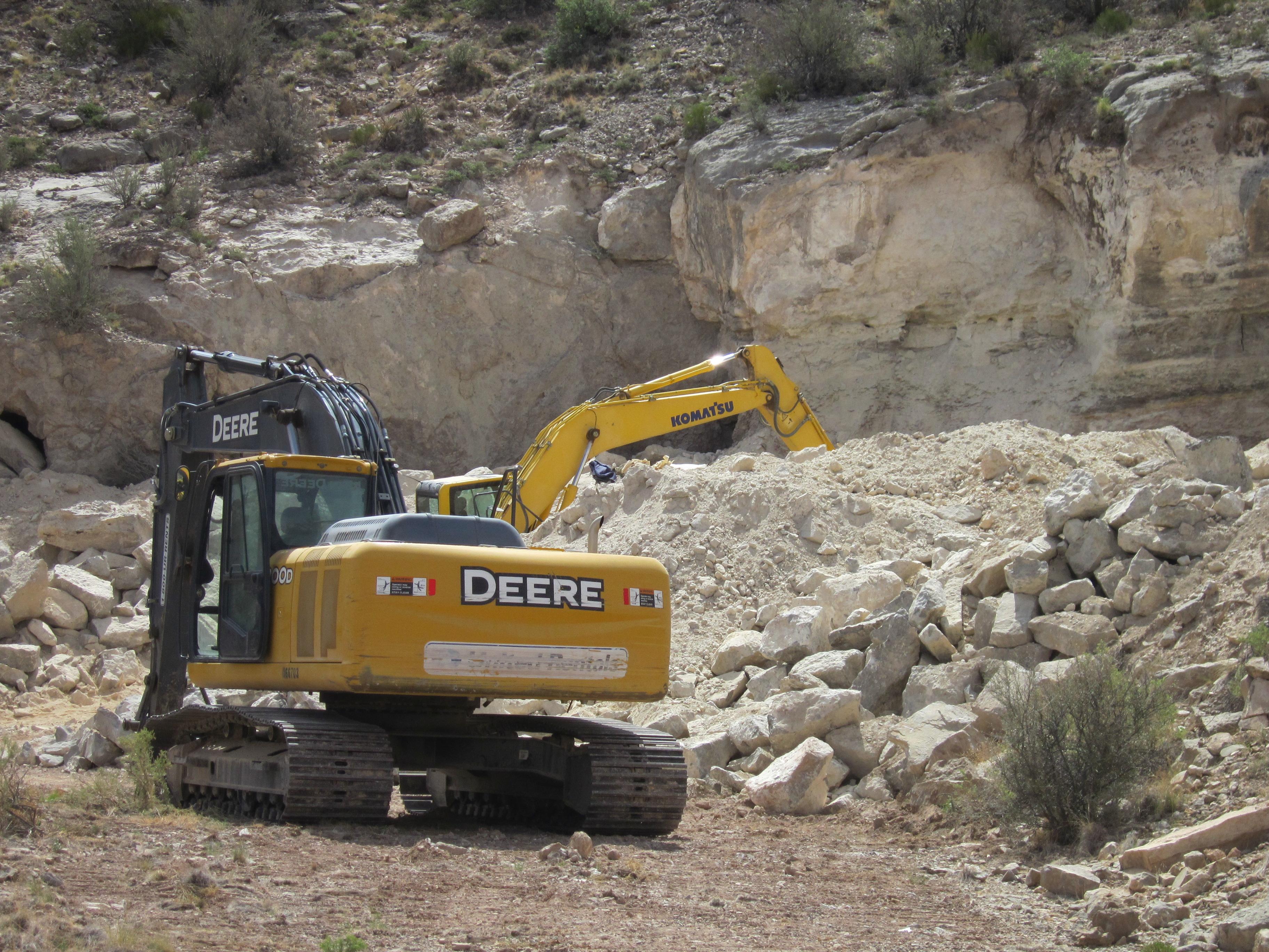 Mining for rocks.