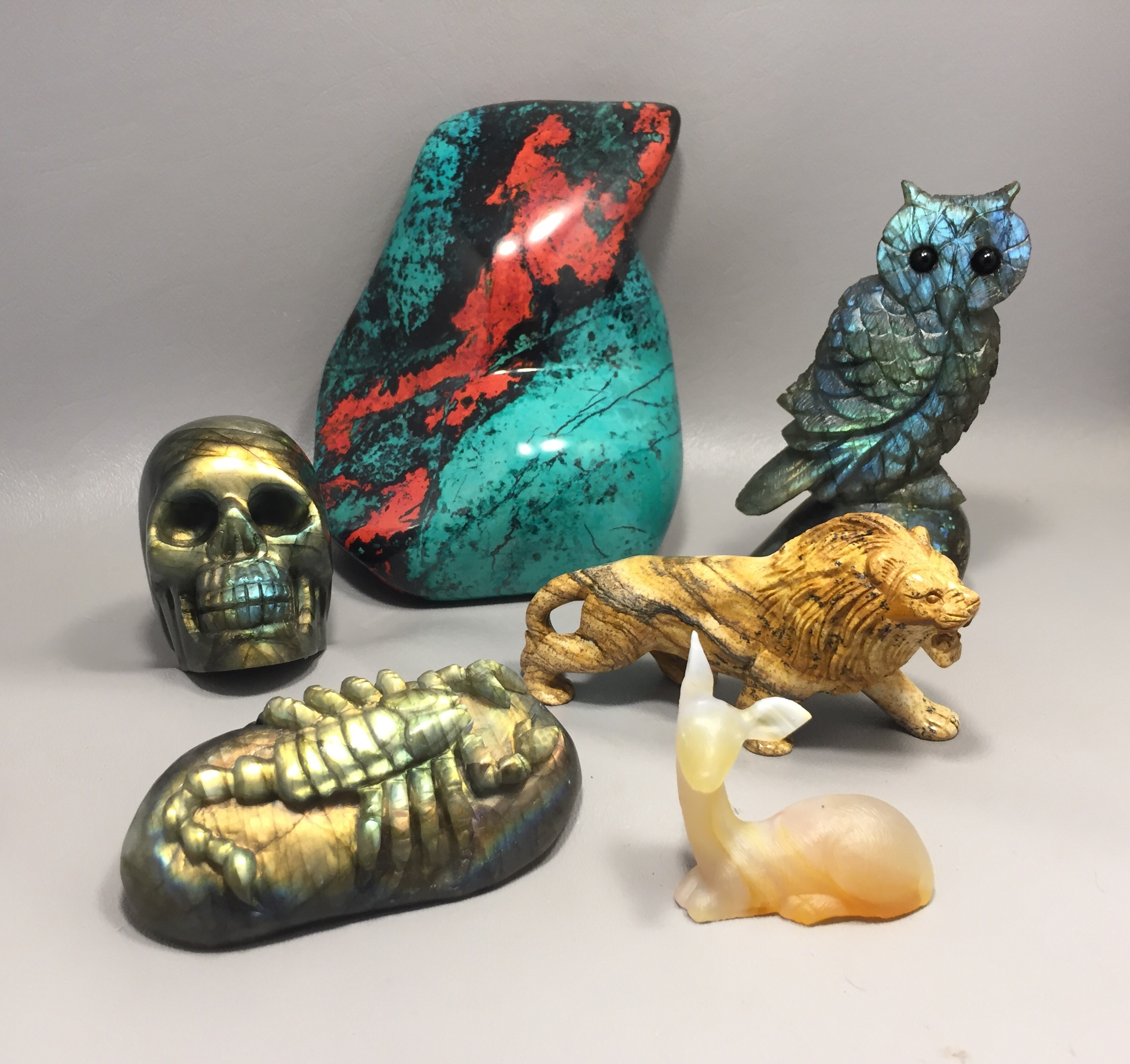 gemstone animal carvings