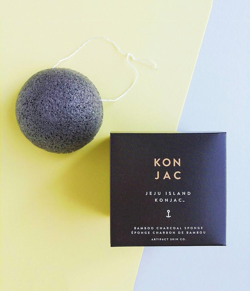 Jeju Island Bamboo Charcoal Konjac Facial Sponge
