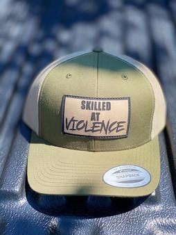 SKILLED AT VIOLENCE TRUCKER HAT (Moss Green/ Khaki Mesh)