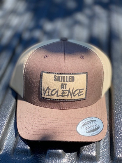 SKILLED AT VIOLENCE TRUCKER HAT (Brown/Khaki Mesh)