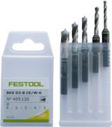 Festool FES-495130 Centrotec Stubby Wood Drill Bit Set, Metric, Set 3-8mm