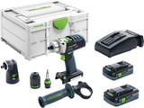 Festool FES-576476 PDC 18/4 Cordless Hammer Drill Driver HighPower 4.0Ah Kit w/ Systainer3