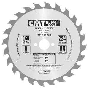 CMT Orange Tools CMT-29116024H General Purpose For Festool 160 MM x24 20 Mm Bore