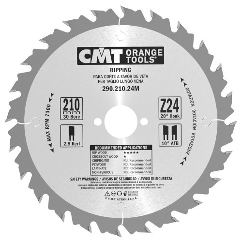 CMT Orange Tools CMT-29021024M Rip For Festool 210 MM x24 30 MM Bore