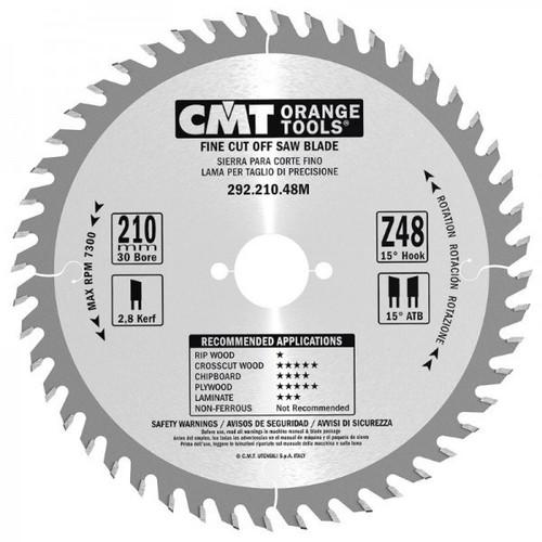 CMT Orange Tools CMT-29221048M Fine-Cut Circular Saw Blade - 210mm x 30mm Bore - 48-tooth