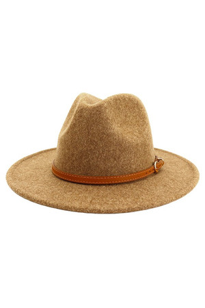 Wool/Felt Fedora Hats with Leather Band, Gold Hardware and Flat Rimmed Edge in Khaki, Brown, Cognac, Beige and Burgundy