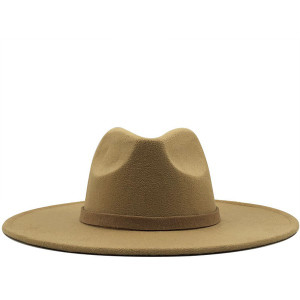 Oversized Wide Brim Hat with Band in Khaki, Gray, Black, Brown and Black/Sliver Hardware