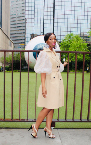 Belted Trench Coat Dress with Polka Dot Puff Mesh Sleeves in Nude, Black and White.