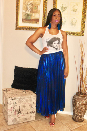 Royal Blue Metallic Pleated Maxi Skirt with elastic waist band