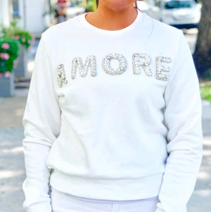 White Sweater imprinted with AMORE in Diamonds, Pearls and Bling