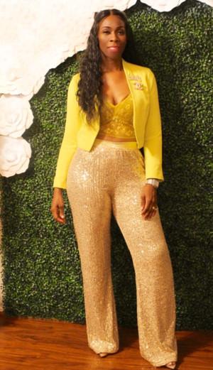 Highwaist wideleg pants with hidden side zipper in gold stretch sequins (XL-2XL $72.99)
