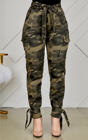 Camouflage Cargo Pants with a Self Tie Belt and Ankle Ties