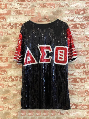 Sequin Tunic with Greek Letters in Red, Black and White (One Size Fits Most Plus)