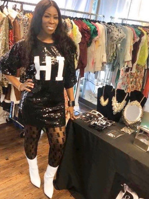 Black Full Sequined Tunic Dress with Hi in White Sequins.