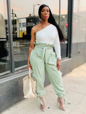 Vegan Leather Paperbag Cargo Pants with Waist Tie and Ankle Ties in Mint.