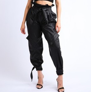 Vegan Leather Paperbag Cargo Pants with Waist Tie and Ankle Ties in Black
