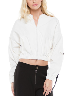 Semi Cropped Baseball Jacket with Front Zipper, Black Tie Detail in White.