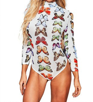 Mock Neck Mesh Bodysuit in White with Multicolor Butterflies