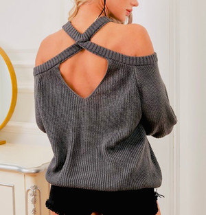 Knit Sweater with Shoulder Cutouts, Keyhole Back, Long Puffy Sleeves wrist cuffs and ribbed hem