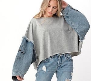 Oversized Cropped Denim Sleeve Contrast Sweatshirt with Raw Edge Hem in Gray