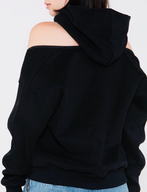 Hooded Sweatshirt with Functional Zip Off Shoulders and Back with Front Pockets in Black or Gray.