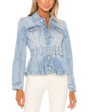 Denim Peplum Trucker Jacket with Front Button Closure, Breast Pockets and Belt