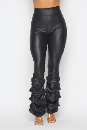 Vegan Leather High Waist Pants with Ruched Legs in a Black Wet Look.