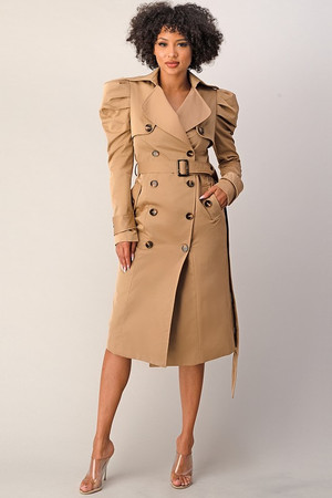 Double Breasted Coat Dress with Ruched Puff Sleeves and Extended Belt in Peanut Butter.