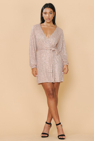 Surplice Wrap Dress Fully Lined with Belt in Rosegold Sequins