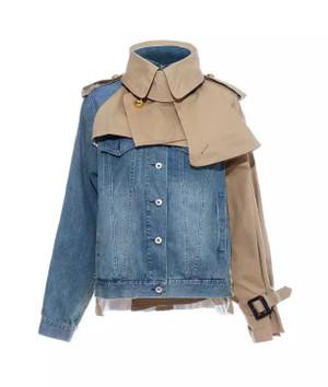 Part Khaki Part Denim Oversized Trench Coat Styled Jacket in Tan or Olive