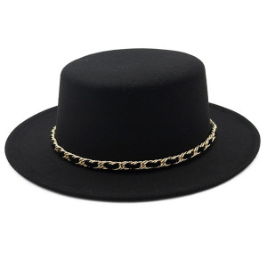 Round Top Fedora Hat with Gold/Fabric Chain Link Band in Black