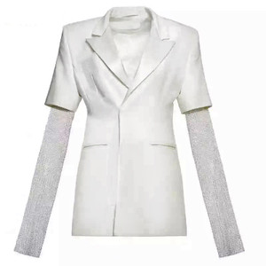 White Two Button Lapel Blazer with Full Lining and Crystal Embellished Sleeves