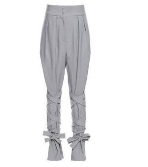 Tailored Two Button High Waist Trousers with Side Pockets and Self Tying Leg Straps in Gray