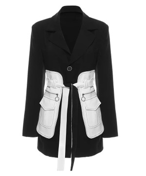 Oversized Blazer in Black with White Waist Corset with Zipper Detail, Reversible Self Tying Belt and Pockets