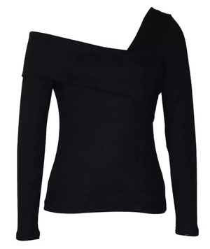 Black One Shoulder Asymmetrical Top with Long Sleeves