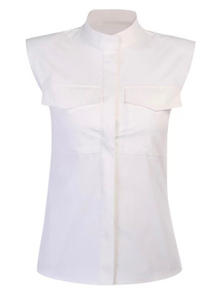White Button Down Sleeveless Top with Shoulder Pads and Breast Pockets