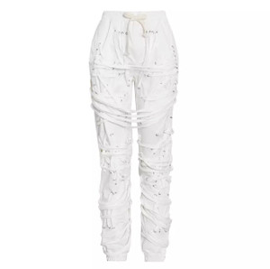 Utility Joggers with Multiple Grommet Laced String Ties, Elastic Waistband with Draw String, Side and Back Pockets in White  100% Polyester