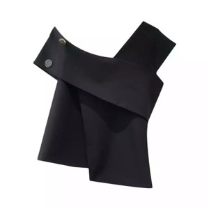 Asymmetrical Off the Shoulder Top in Black with Gold Hardware Accents