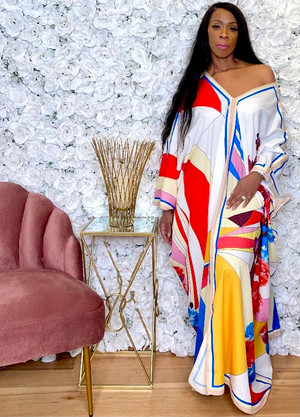 Multi- Colored Abstract and Floral Print V Neck Caftan