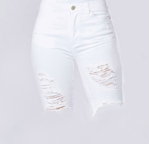 Distressed Bermuda Shorts with Front Button Closure and 5 Pockets in White  Stretch Denim