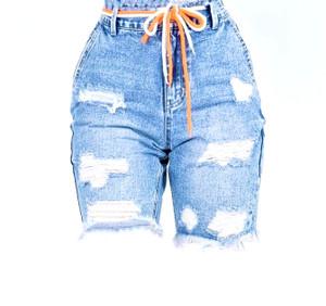 Boyfriend Style Distressed Bermuda Shorts with 5 Pockets in a Medium Wash Denim  Minimal Stretch in Waistline