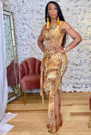 Sleeveless Mesh Multiway Tasseled Midi Dress in a Yellow and Cognac Cheetah Print 92%POLYESTER 8%SPANDEX